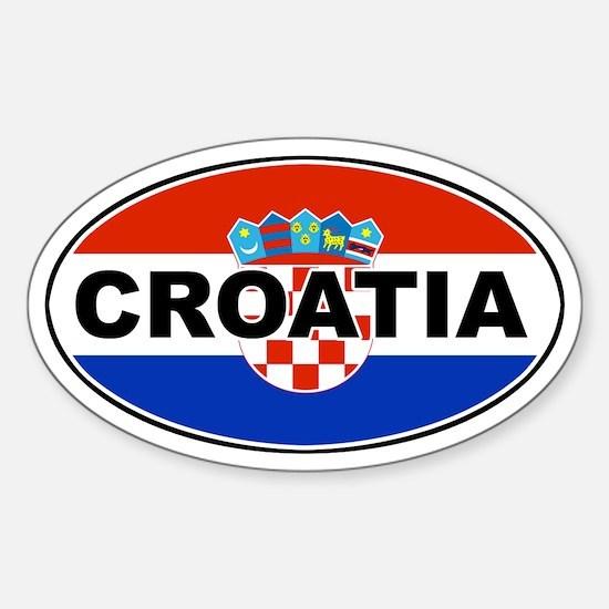 Croatian Oval Flag Oval Decal