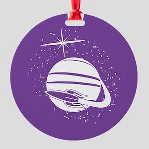 Rocket Ship Round Ornament