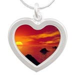 Volcanic Chain Silver Heart Necklace