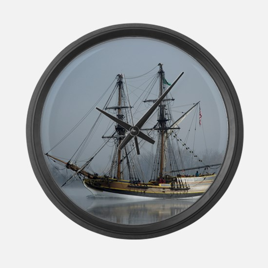 Tall Ship at Sunrise - Large Wall Clock
