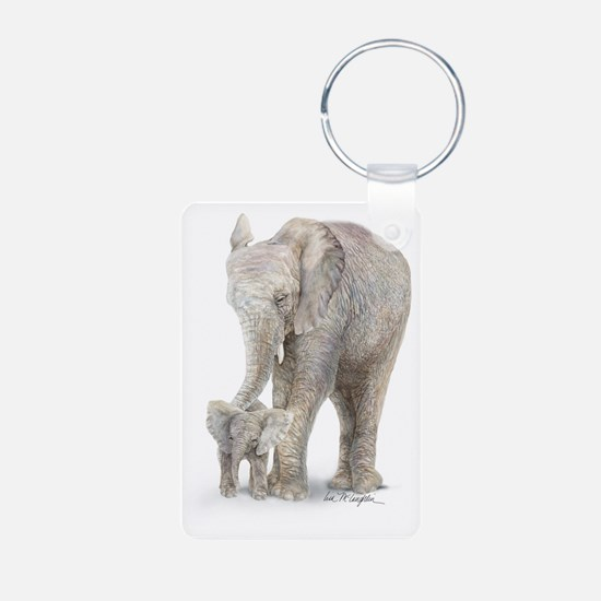 Mother and baby elephant Keychains