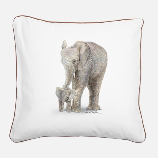 Mother and baby elephant Square Canvas Pillow