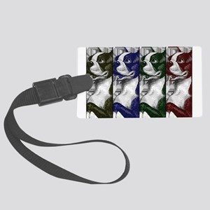 Boston Terrier Color Block Large Luggage Tag