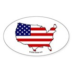 USA National Flag Outline Oval Sticker