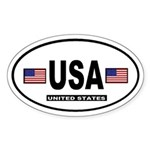 United States International Style Oval Sticker