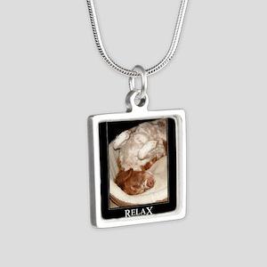 Brittany Spaniel Silver Square Necklace