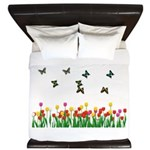 Tulip Garden and Butterflies King Duvet