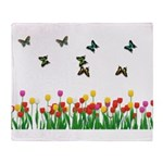 Tulip Garden and Butterflies Throw Blanket