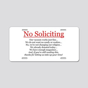 No Soliciting Aluminum License Plate