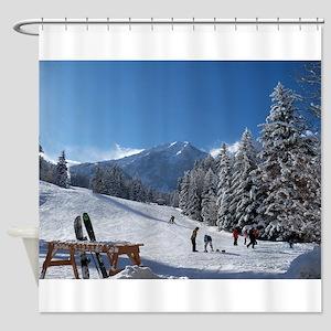 Ski Resort Scene Shower Curtain
