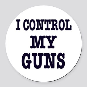 I CONTROL MY GUNS , t shirts, gifts Round Car Magn