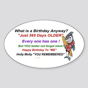 Birthday Remembered Sticker (Oval)