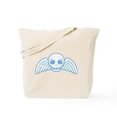 Cute Blue Skull With Wings Tote Bag