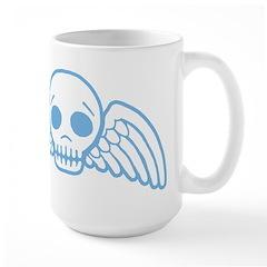 Cute Blue Skull With Wings Large Mug
