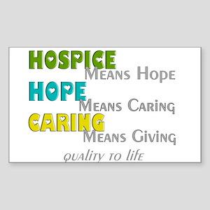 Hospice 2013 hope green blue Sticker (Rectangl