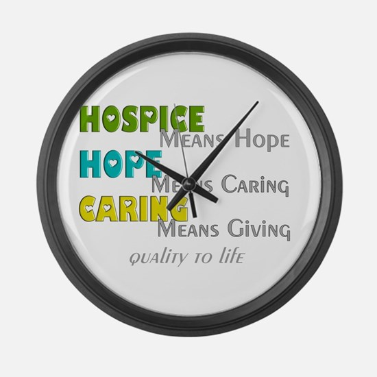 Hospice 2013 hope green blue.PNG Large Wall Clock
