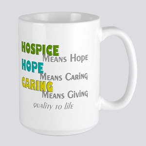 Hospice 2013 hope green blue Large Mug
