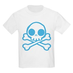 Cute Blue Skull Kids Light T-Shirt