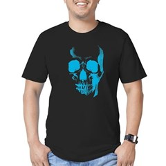 Blue Skull Face Men's Fitted T-Shirt (dark)
