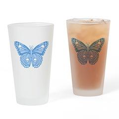 Blue Skull Butterfly Drinking Glass