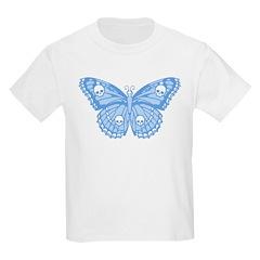 Blue Skull Butterfly Kids Light T-Shirt