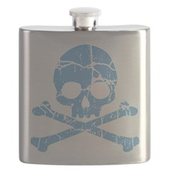 Worn Blue Skull And Crossbones Flask