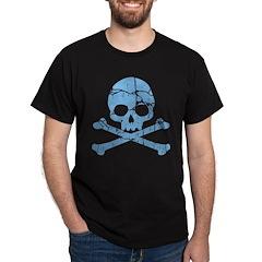 Worn Blue Skull And Crossbones Dark T-Shirt