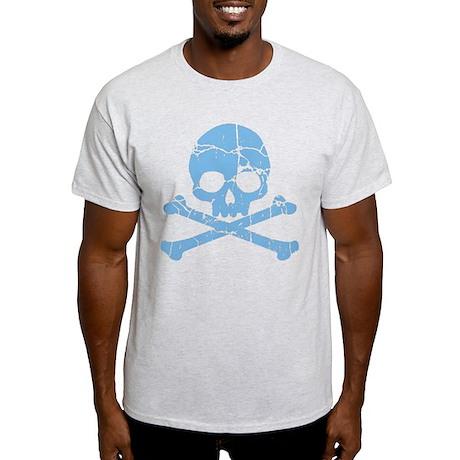 Worn Blue Skull And Crossbones Light T-Shirt