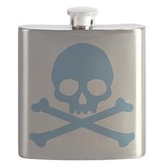 Blue Skull And Crossbones Flask
