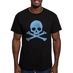 Blue Skull And Crossbones Men's Fitted T-Shirt (da