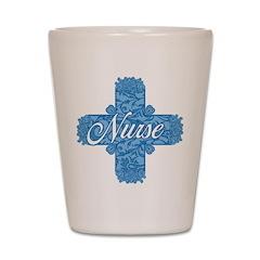 Lacy Blue Nurse Cross Shot Glass