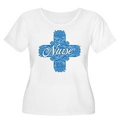 Lacy Blue Nurse Cross T-Shirt