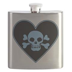 Blue Skull Crossbones Heart Flask