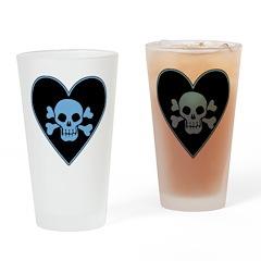 Blue Skull Crossbones Heart Drinking Glass