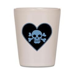 Blue Skull Crossbones Heart Shot Glass