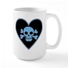 Blue Skull Crossbones Heart Large Mug