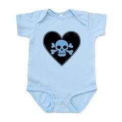Blue Skull Crossbones Heart Infant Bodysuit