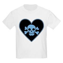 Blue Skull Crossbones Heart Kids Light T-Shirt