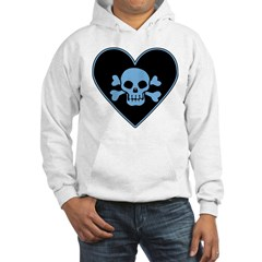 Blue Skull Crossbones Heart Hooded Sweatshirt