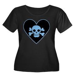 Blue Skull Crossbones Heart T