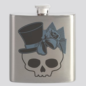 Cute Skull With Blue Bow Tophat Flask