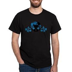 Skull With Blue Blossoms Dark T-Shirt