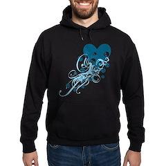 Blue Heart With Skulls And Swirls Hoodie (dark)