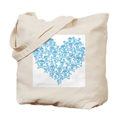 Blue Skull Heart Tote Bag