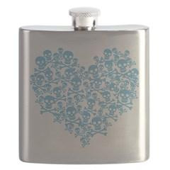 Blue Skull Heart Flask