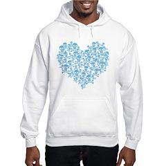 Blue Skull Heart Hooded Sweatshirt