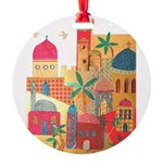 Jerusalem City Colorful Art Round Ornament
