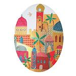 Jerusalem City Colorful Art Ornament (Oval)