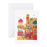 Jerusalem City Colorful Art Greeting Cards (Pk of