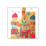 Jerusalem City Colorful Art Square Sticker 3